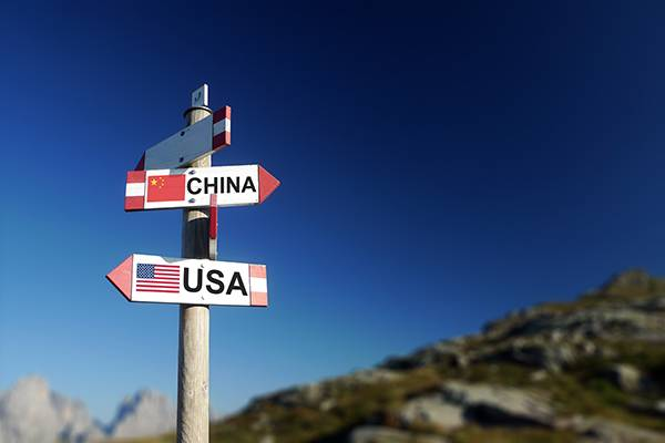 USA and Chinese flags on signpost